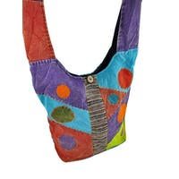 Colorful Stonewashed Patchwork Monk Sling Bag - multicoloured