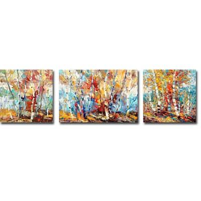 Color Burst 1, 2, & 3 by Dean Bradshaw 3-pc Gallery Wrapped Canvas Giclee Set (16 in x 56 in Overall Size)