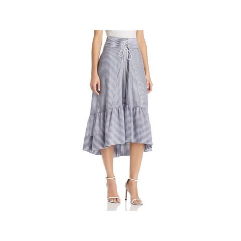 T Tahari Womens Irena Midi Skirt Lace-Up Hi-Low
