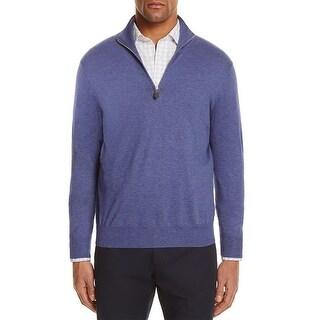 Private Label Mens Henley Sweater Cashmere Blend Quarter Zip - XxL