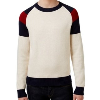 Tommy Hilfiger NEW Beige Mens Size 2XL Colorblocked Crewneck Sweater