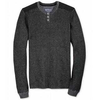 American Rag NEW Black Mens Size Medium M Ribbed Henley Sweater