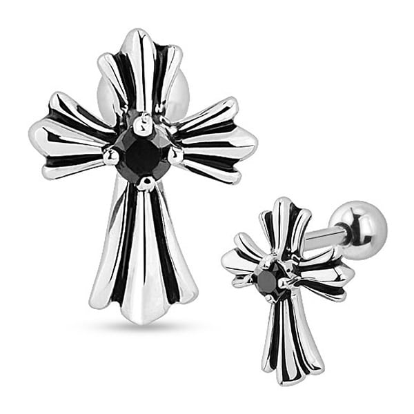 Vintage Cross with Black Gem 316L Surgical Steel Cartilage/Tragus Barbell (Sold Ind.)