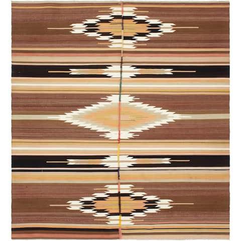 ECARPETGALLERY Flat-weave Bohemian Brown Wool Kilim - 4'10 x 9'4