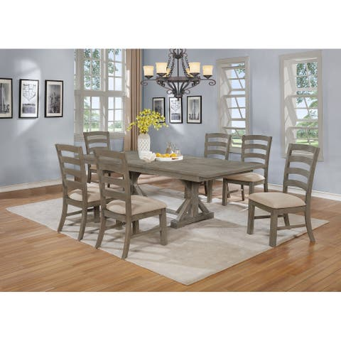 Best Quality Furniture Rustic Grey 7pc Extend Dining Set Ladder Chairs