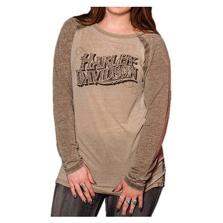 Harley-Davidson Women's Playbill Long Sleeve Raglan Burnout Shirt, Brown