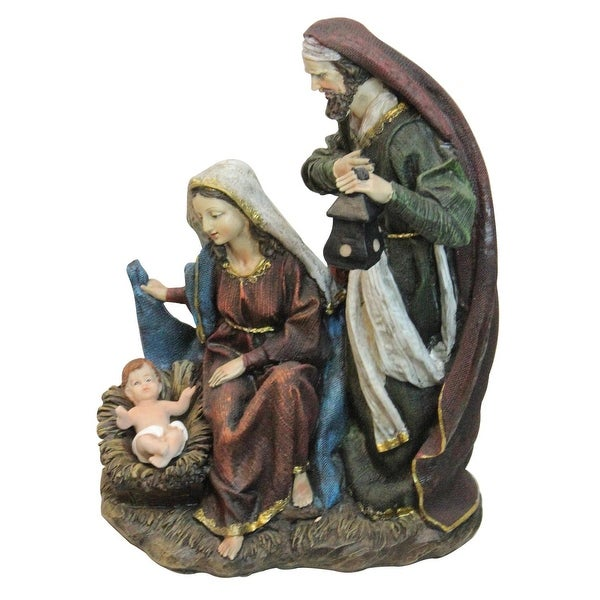 """14 """"Silent Night"""" Polyresin Holy Family Nativity Decorative Figurine - brown"""
