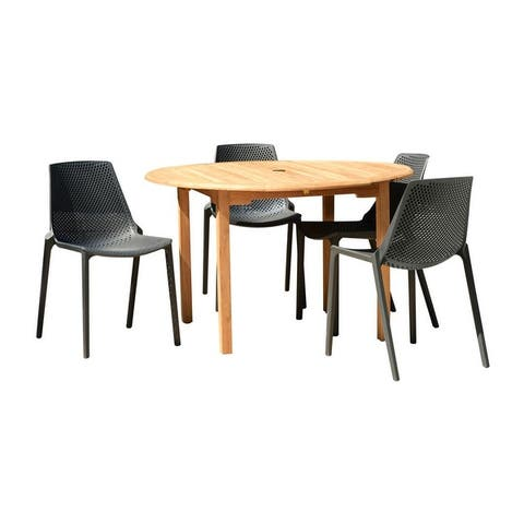 Papiit Teak Finish 5-piece Round Patio Dining Set by Havenside Home