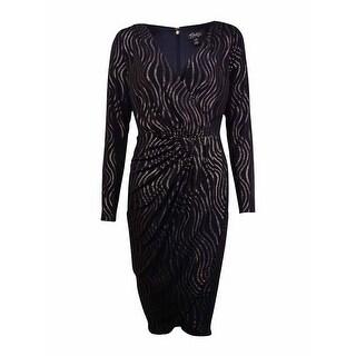 Thalia Sodi Women's Metallic Striped Faux-Wrap Dress