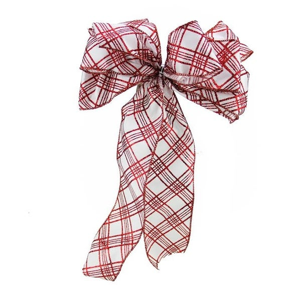 "8"" x 16"" White with Glittered Red Plaid 6 Loop Bow Christmas Decoration"
