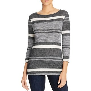Three Dots Womens Casual Top Striped 3/4 Sleeves
