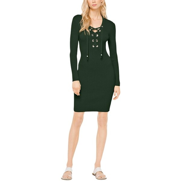 005a5ddf305 MICHAEL Michael Kors Womens Sweaterdress Lace-Up Ribbed Knit. Click to Zoom