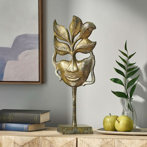 Orwell Indoor Aluminum Handcrafted Decorative Face Accessory with Stand by Christopher Knight Home