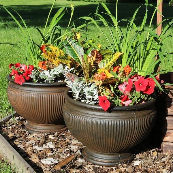 Overstock.com & Shop Sunnydaze Elizabeth Outdoor Flower Pot Planter - Rust Finish ...
