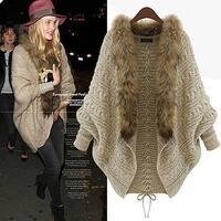 Womens Girls Batwing Knitted Sweater Faux Fur Collar Cardigan Coat