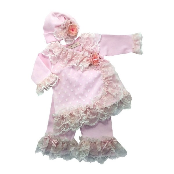 Nick and Nellie Baby Girls Blush Cream Trim 3 Pc Layette-Take Me Home Set