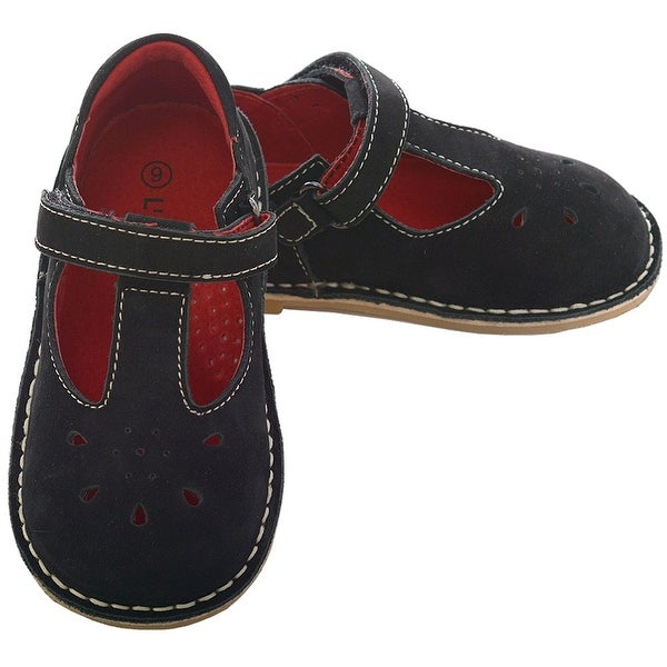 a6dc3c9b05e Shop L Amour Black Nubuck T Strap Velcro Shoe Little Girl 11-12 - Free  Shipping On Orders Over  45 - Overstock - 25600395