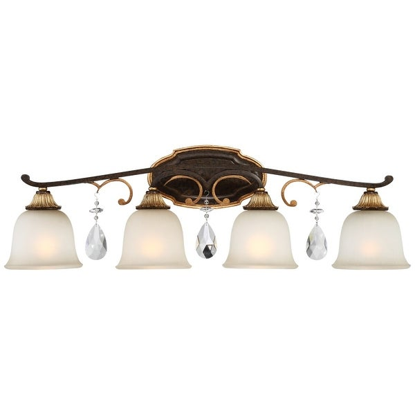"Metropolitan N1464-652 4 Light 32"" Wide Bathroom Vanity Light with Driftwood Glass Shades and Crystal Accents from the Chateau"