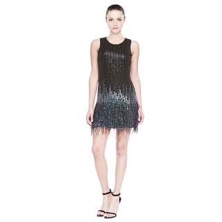 Parker Allegra Embellished Feather Hem Cocktail Dress