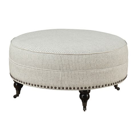 Gracewood Hollow Brewster Pebble Grey Striped Round Ottoman
