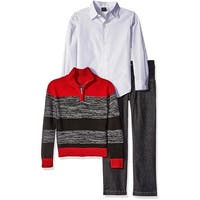Nautica Boys 2T-4T 3-Piece Striped Sweater Pant Set - Red