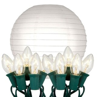 10 Bright White Glowing Garden Patio Round Chinese Lighted Paper Lanterns 10""