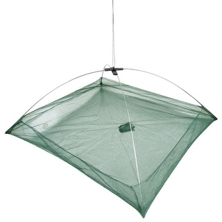 "Unique Bargains 19.7"" x 19.7"" x 14.6"" Umbrella Crab Bait Cast Lures Dip Fishing Net for Fishermen Green"