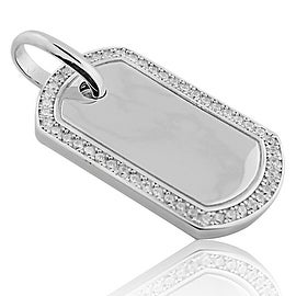 Sterling Silver Dog Tag Pendant 42mm Tall With Pave Set CZ on Bazel By MidwestJewellery