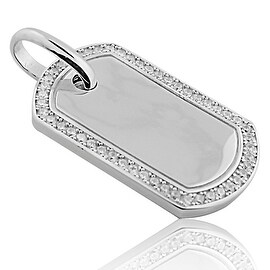 Sterling Silver Dog Tag Pendant 42mm Tall With Pave Set CZ on Bazel