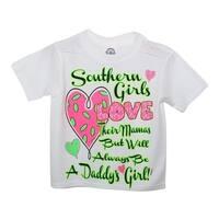 """Little Girls White Green """"Southern Girls"""" Print Short Sleeved T-Shirt 2T"""