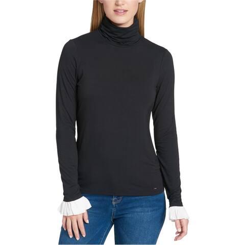Tommy Hilfiger Womens Flounce-Cuff Basic T-Shirt, Black, Small