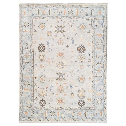 """Shahbanu Rugs Ivory Supple Collection Natural Wool Oushak Design Hand Knotted Oriental Rug (9'1"""" x 12'0"""") - 9'1"""" x 12'0"""""""