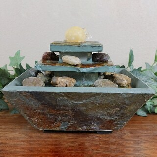 Sunnydaze Ascending Slate Tabletop Water Fountain with LED Light 8-Inch
