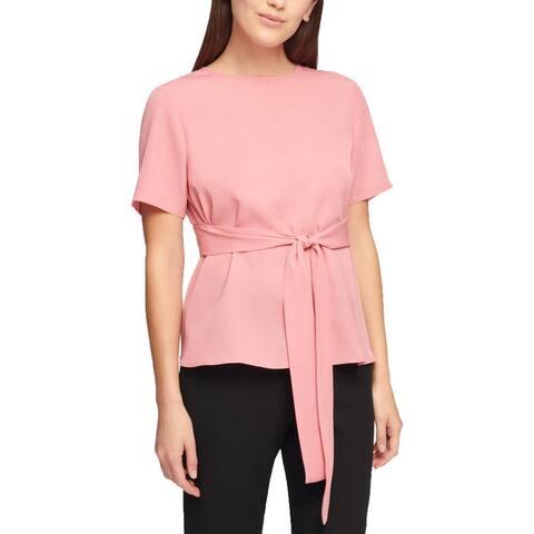 DKNY Womens Blouse Tie-Waist Short Sleeve - S
