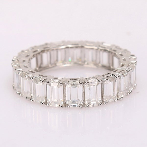 Miadora 6ct DEW Octagon-cut Moissanite Eternity Band Ring in 14k White Gold. Opens flyout.