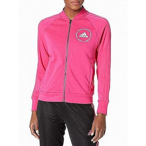 Adidas Womens Sweater Pink Size XL Full Zip Graphic Print Activewear