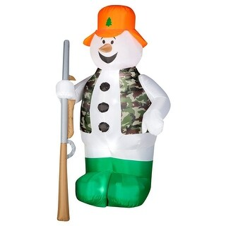 Gemmy 86231 AirBlown® Lights-Up Hunting Snowman w/ Rifle Christmas Decor, 6'