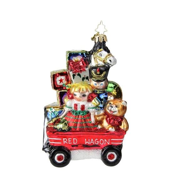 "6"" Christopher Radko ""My Little Red Wagon"" Glass Christmas Tree Ornament #1019235 - multi"