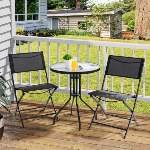 Futzca 3-Piece Patio Bistro set, Small Metal Outdoor Chair and Table Set Balcony Furniture w/ Folding Chairs Round Glass Table