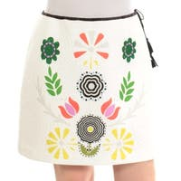 CYNTHIA ROWLEY Womens Ivory Floral Above The Knee A-Line Skirt  Size: XL