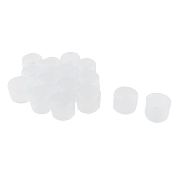 "PVC Leg Tip Furniture Feet Floor Pad Cap Protector 19mm 0.75"" Inner Dia 15pcs"
