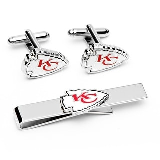 Kansas City Chiefs Cufflinks and Tie Bar Gift Set - Silver