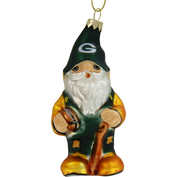Green Bay Packers Blown Glass Gnome Ornament