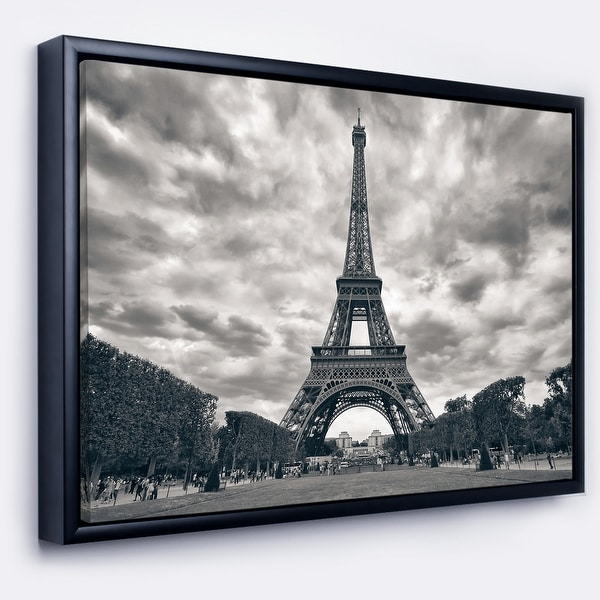 Designart 'Paris Eiffel TowerUnder Dramatic Sky' Skyline Photography Framed Canvas Art. Opens flyout.