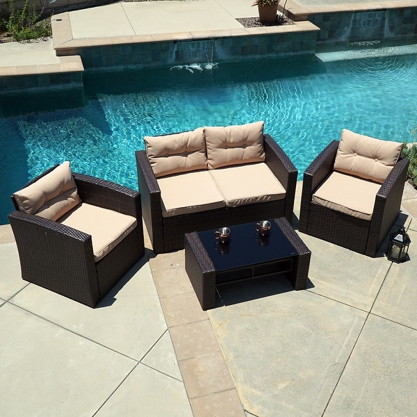 Sofa Table With Seating: Shop Belleze 4-Piece Patio Set Cushioned Seat Chair Sofa