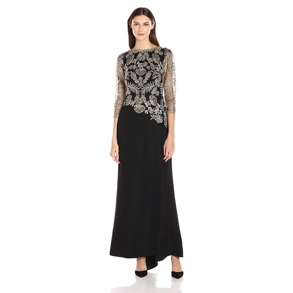 Tadashi Shoji Embroidered 3/4 Illusion Sleeve Evening Gown Dress - 4 ...