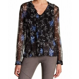 Elie Tahari NEW Black Womens Size XS Ruffled Floral-Printed Blouse