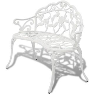 vidaXL Garden Bench Chair White Porch Park Aluminum Outdoor Rose Antique Seat
