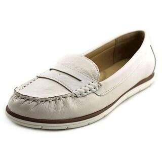 White Mountain Village Women Moc Toe Leather White Loafer
