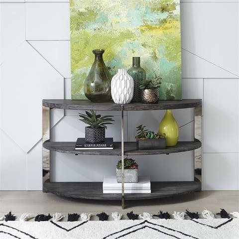 Paxton Charcoal with Chrome Plated Metal Sofa Table